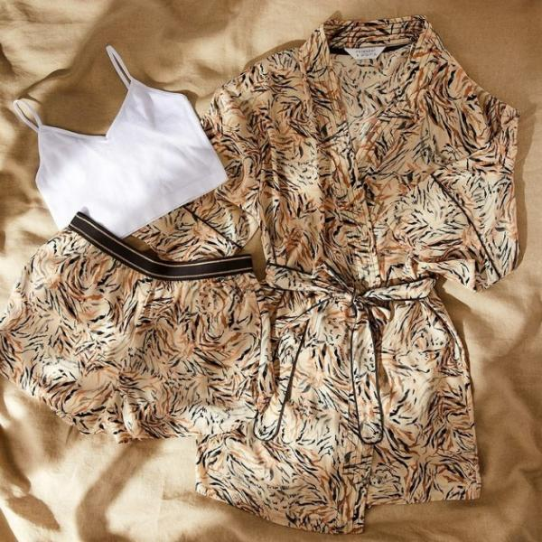 A flatlay of neutral-coloured summer loungewear from Primark